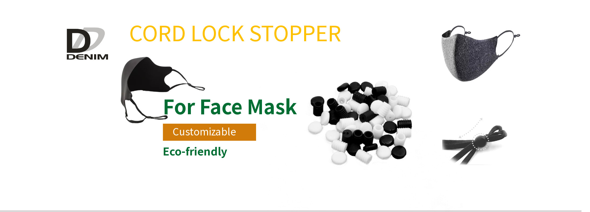 Plastic Face Mask Stopper , Cord Lock Stoppers In Black Color Eco-Friendly